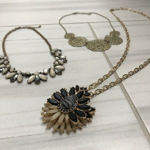 Neutral statement necklace bundle